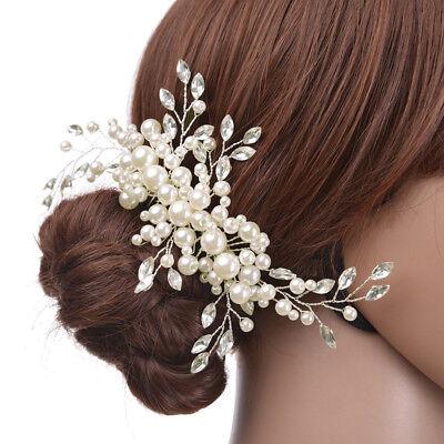 Cabello Haircomb Novia Boda Tiaras Jewerly Perlas Flores Cristal de Strass