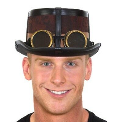Steampunk Brown Top Hat with Black Straps and Goggles Unisex - 3 Looks in - Top Hat And Goggles