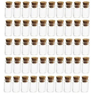 50x Cute Mini Glass Bottles with Cork Stopper Wishing Bottle Vials Jars 12*16mm - Cute Jars
