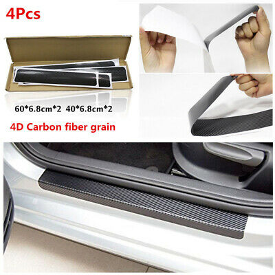 4PCS 4D Carbon Fiber Door Sill Scuff Protector Stickers Tool Car Accessories