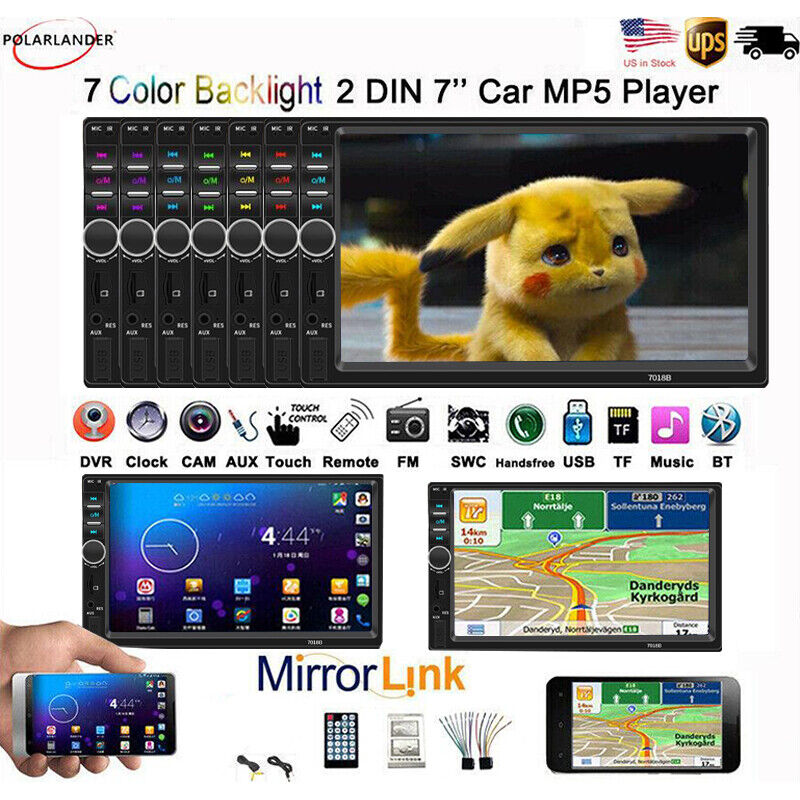 """Double DIN 7""""  Car Stereo Radio Bluetooth MP5 FM AUX Player Touch Screen FM TF"""