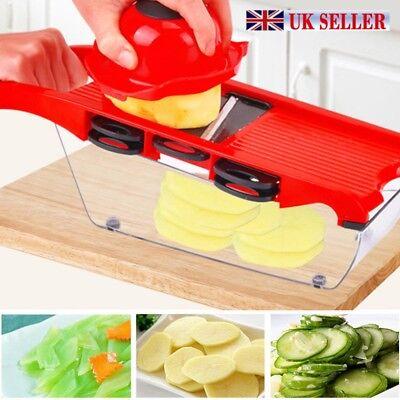 UK Vegetable Cutter 6 Blades Mandoline Slicer Potato Peeler Carrot Cheese Grater