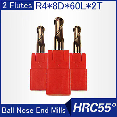 Hrc55 2flutes R4 Solid Carbide Ball Nose End Mills L 60mm