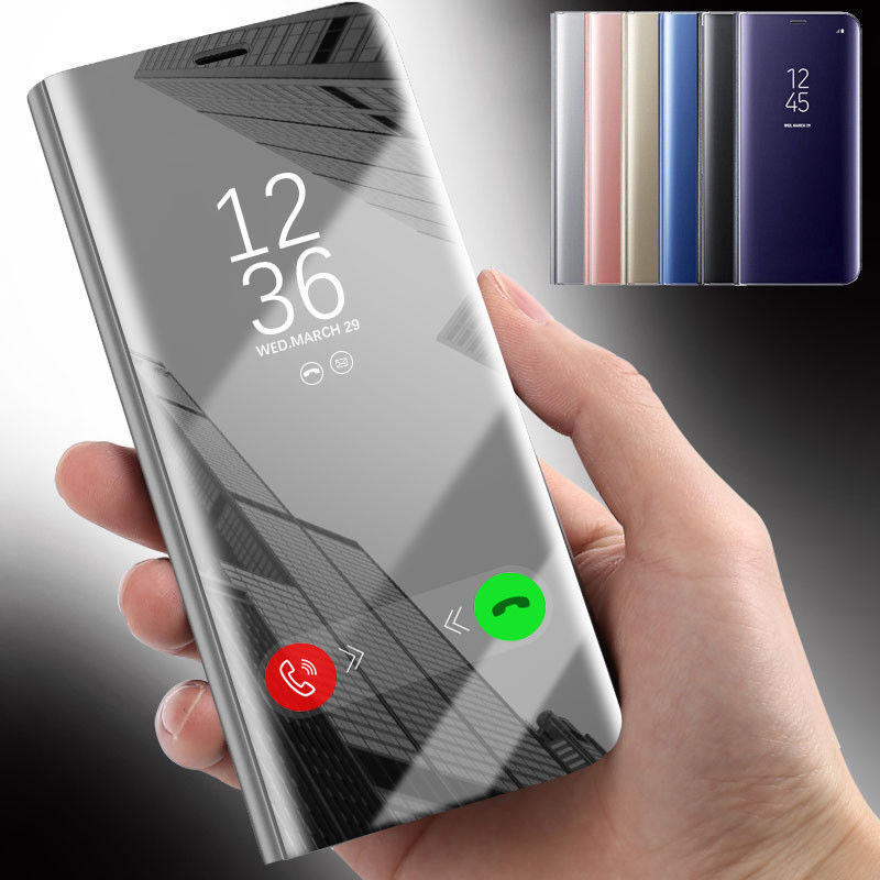 For LG V30 V40 Mirror Magnetic Smart View Window Leather Sta