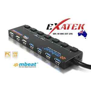 mbeat-7-Port-USB-2-0-and-3-0-Powered-Hub-w-individual-switches-Aust-local-stock