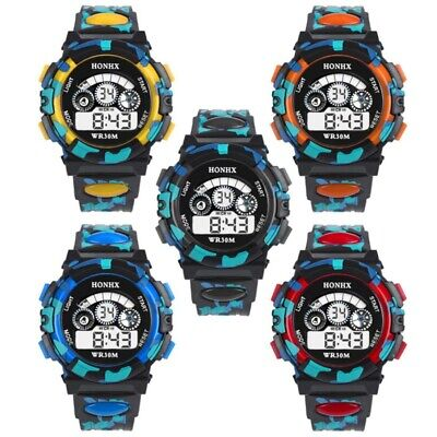 Toddler Baby Kids LED Digital Alarm Watch Waterproof Sport Wrist Camo Watch Gift
