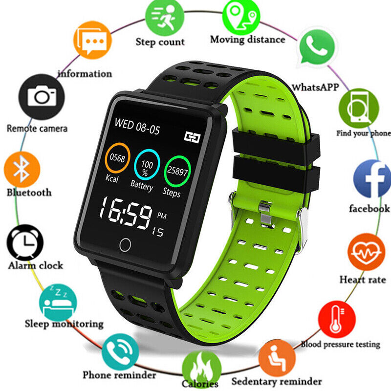 IP68 Wasserdicht Smartwatch Sports Uhr Pulsuhr Blutdruck Fitness Tracker Armband