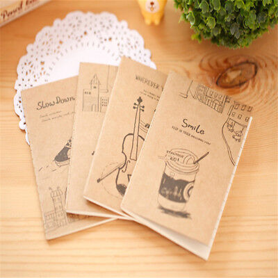 Mini Notebook Kraft Cover Daily Memo Note Pads Stripe Inner Page Office Supplies