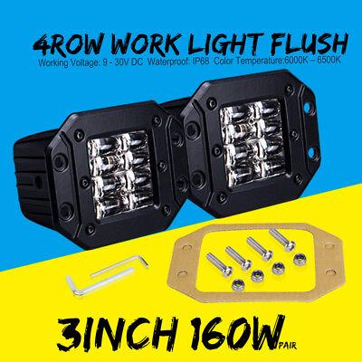 4inch 80W LED Cube Pods Work Light Flush Mount Fog Light Offroad Truck Jeep ATV