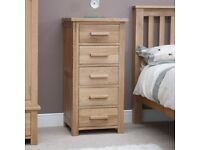 Opus Solid Oak 5 Drawer Wellington Chest - Brand New Ex-Display Model