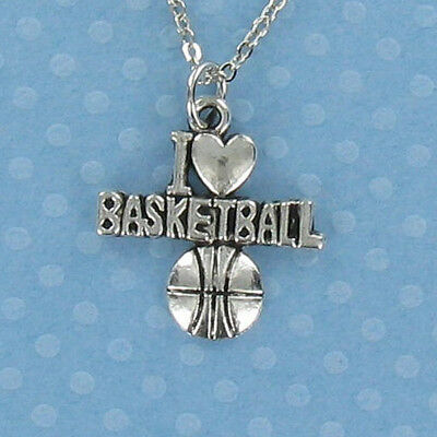 I Heart Basketball Necklace - Pewter Charm Ball Sports Team Love High School NEW