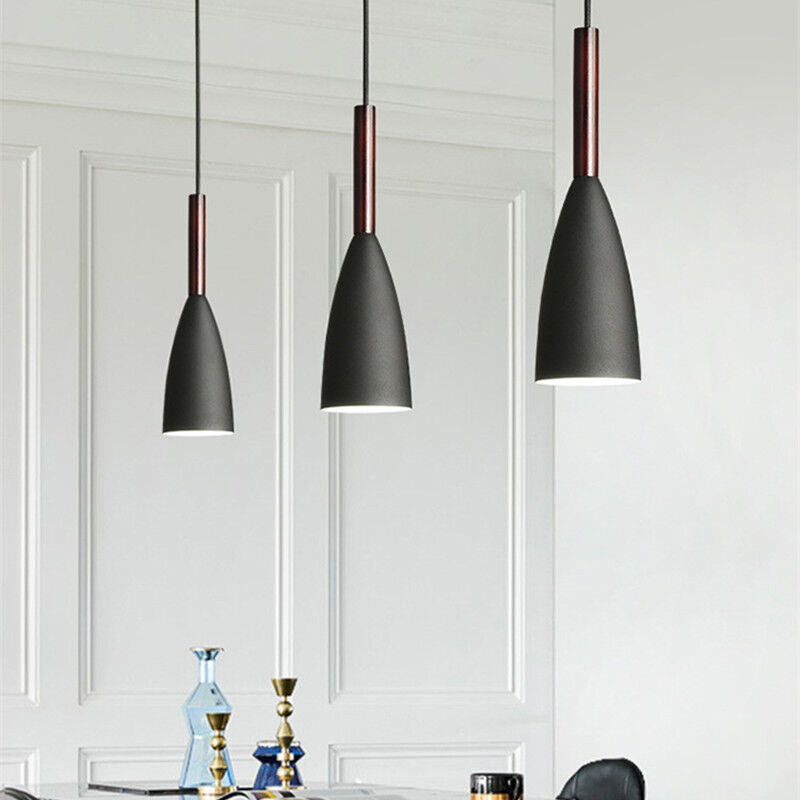 Details About Black Pendant Lighting Bar Lamp Kitchen Modern Light Wood Ceiling