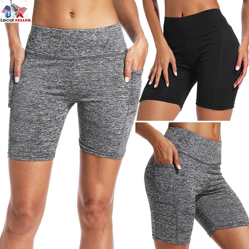 Cotton Spandex Biker Shorts Slip Shorts Bermuda yoga Pants Women High Waist C312