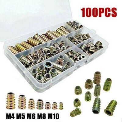 100pcs Rivet Nut Kit Zinc Steel Rivnut Insert Nutsert Open End Threaded M3-m10