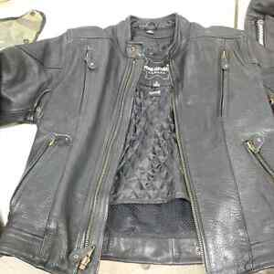 Ladies leather jacket, chaps and 2 vests