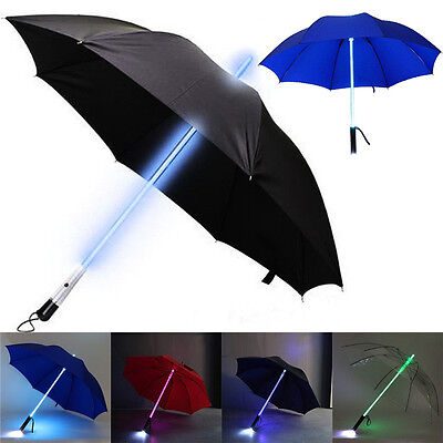 LED Star War Transparent Umbrella Light Up Colorful Blade Runner with Flashlight