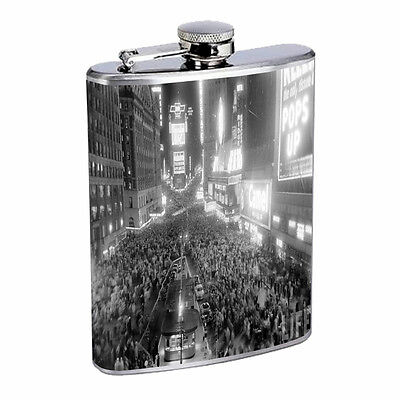 Vintage New Years Eve D9 Flask 8oz Stainless Steel Hip Drinking Whiskey - New Years Eve Drinks