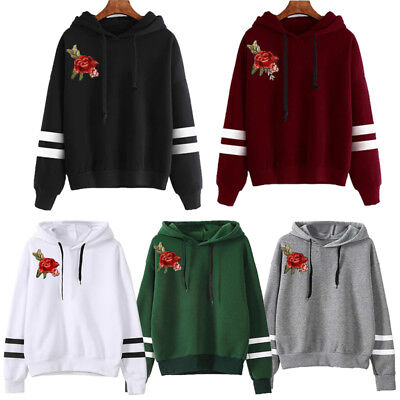 NEW Women Long Sleeve Hoodie Sweatshirt Jumper Hooded Pullover Shirt Tops Blouse
