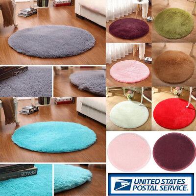 Round Soft Fluffy Anti Skid Carpets Rugs Area Bedroom Bathroom Room Floor Mat US ()