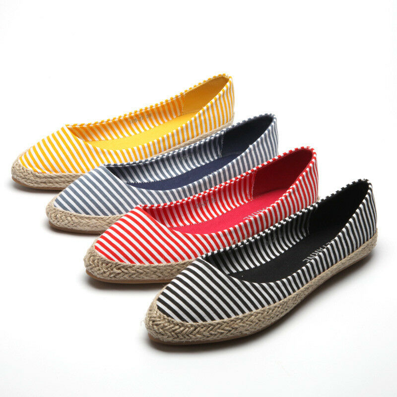 8d940cd403c Details about Women's Retro Loafers Striped Pointed Toe Espadrilles Canvas  Flats Shoes Slip On