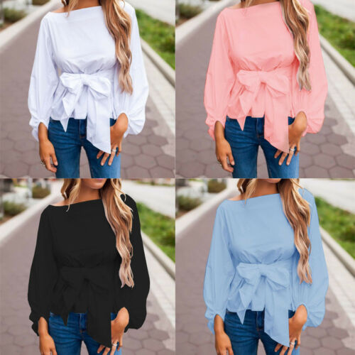 $11.99 - US Women Ladies Long Sleeve Bowknot Waist Tie T Shirt Fashion Casual Blouse Tops