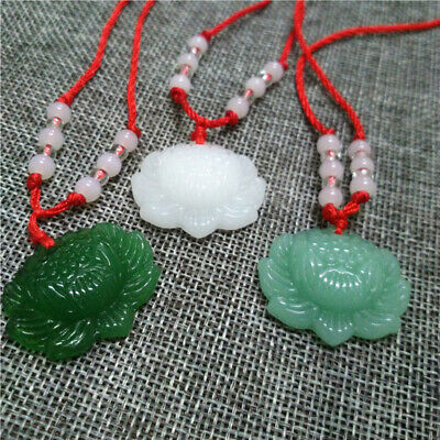 Jade Lucky Flower (Jade Lotus Flower Carved Necklace Pendant Lucky Stone Amulet Unisex Jewelry )