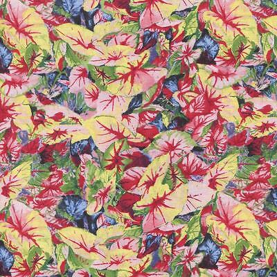 CALADIUM FOLIAGE RED BLUE GREEN YELLOW Cotton Fabric BTY Quilting Craft (Blue Green Foliage)