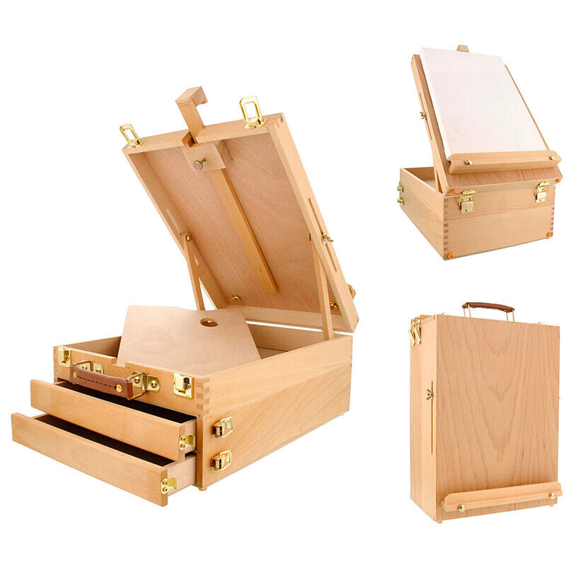 Portable 3-Layer Drawers Artist Durable Paint Box Table Top Easel Sketchpad USA