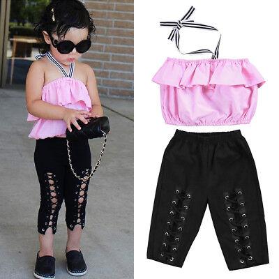 US Boutique Toddler Kids Girl Off Shoudler Crop Top Elastic Pants Outfit - Toddler Boutique