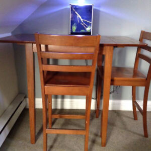 Drop leaf table and chairs for two