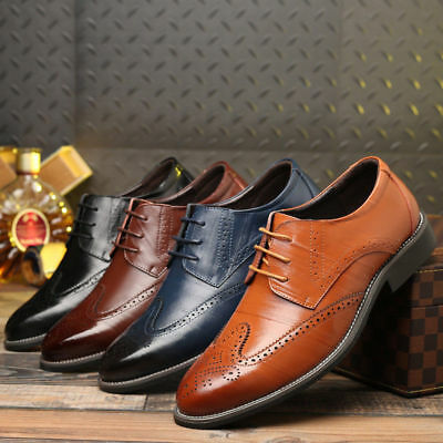 Men's Oxfords Brogue Leather Formal Casual Dress Lace up Wing Tip Wedding - Dresses Shoes