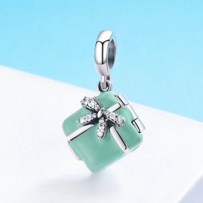 (Mini Cube Box With Macarons Charm Dangle Bead 925 Sterling Silver Fits Bracelet)
