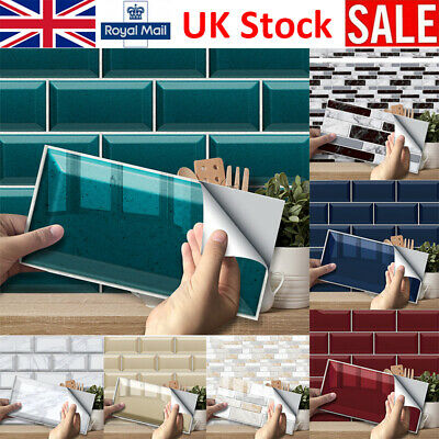 Home Decoration - 3D Mosaic Kitchen Tile Stickers Bathroom Self-adhesive Wall Decor Home DIY UK
