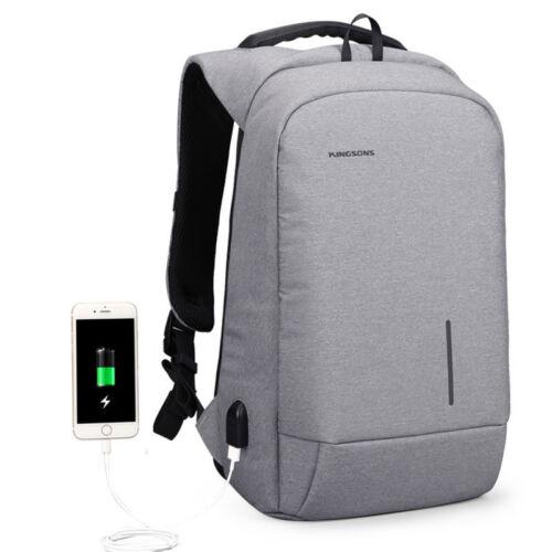Anti-Theft Laptop Backpack Business Travel School Bag USB Charging Port Black UK