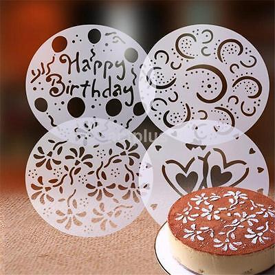 Heart Mould - 4PCS Round Flower Heart Cake Stencils Fondant Sugarcraft Mold Mould Cake Decor