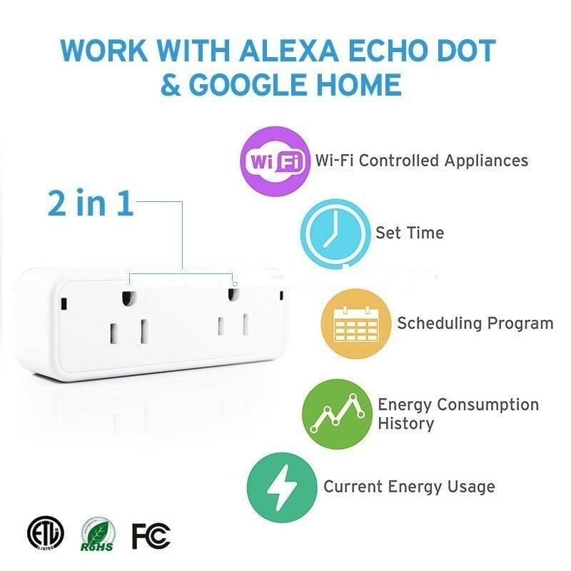 Smart Plug Wi-Fi Dual Outlets Smart Sockets with Energy Monitor