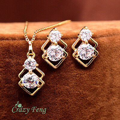 New Women 18k Gold Plated CZ Crystal Necklace Earrings Wedding Jewelry Sets