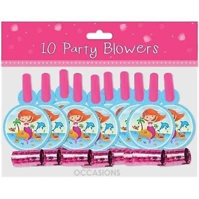 New Years Party Blowers (10 Mermaid Design New Year Birthday Christmas Party Blowers)