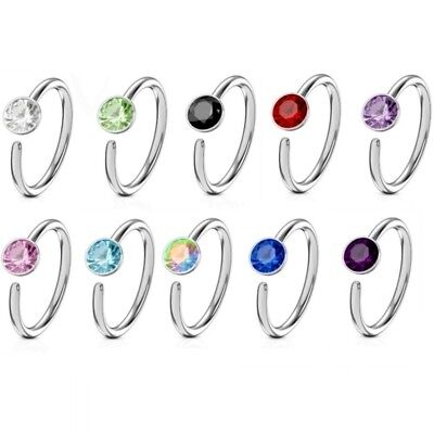 - SINGLE CZ GEM BENDABLE NOSE RING HOOP JEWELRY 316L SURGICAL STEEL(20 GAUGE)