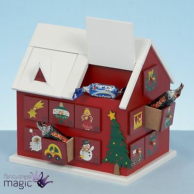 20cm Festive Wooden Wood House Advent Calendar Traditional Christmas Decoration