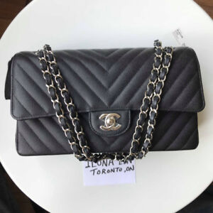 Chanel classic flap in black caviar leather