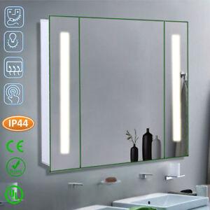 Wall Hung Bathroom Led Mirror Cabinet With Gl 2 Shelves Shaver Socket Sensor