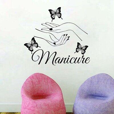 Beauty Nail Salon Vinyl Wall Sticker Butterfly Hands Nail Shop Wall Window Decor - Salon Decorations
