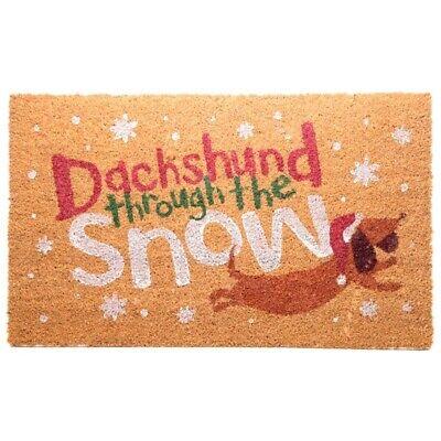 CHRISTMAS DACHSHUND THROUGH THE SNOW CLASSIC TRADITIONAL COIR DOOR FLOOR -