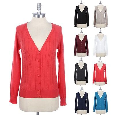 - WOMEN'S Cable Knit V Neck Button Down Cardigan Long Sleeve Solid Plain Cotton