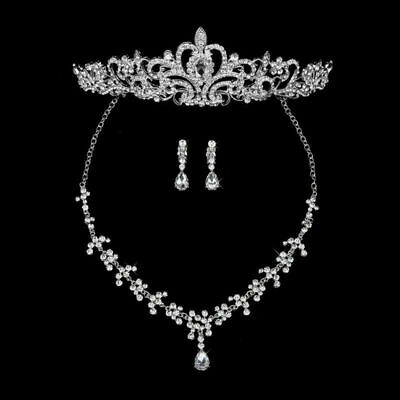 all Strass Braut Diadem Halskette Ohrringe Party Schmuck Set (Strass Tiara)