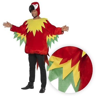 M/L Parrot Red Costume Jumpsuit with Beak Hood Jungle Safari Bird Fancy Dress](Safari Costume Male)