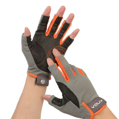 3/4 Finger Climbing Gloves Goatskin Breathable for Mountaineering Rescue Cycling