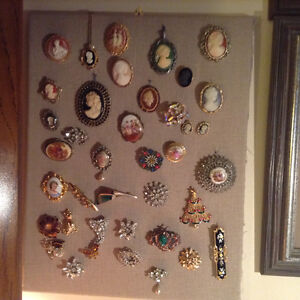 Vintage  Cameo and Brooches Collection on the Frame