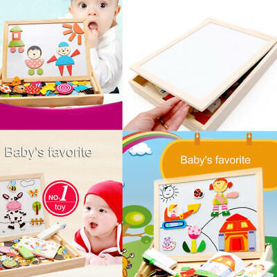Kids Puzzle Painting Drawing Board Wooden Animal Shape Education Magnetic